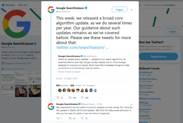 Screenshote Google March 2019 Core Update