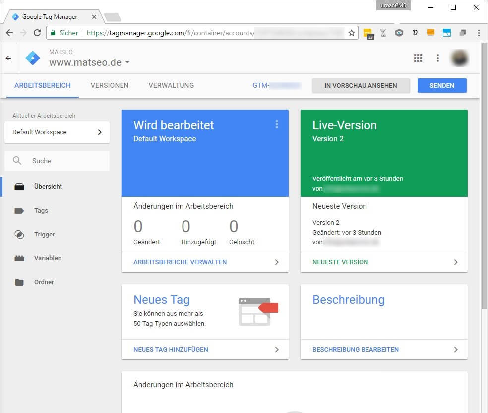 Google Tag Manager Beispiel Google Analytics, Mouseflow, Google Optimize