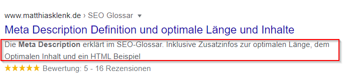 SERP Meta Description Beispiel