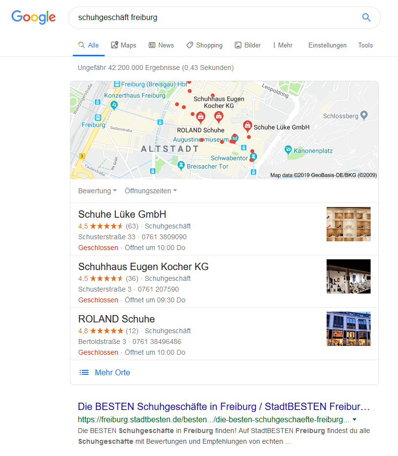 Universal Search Definition: Google Maps Beispiel