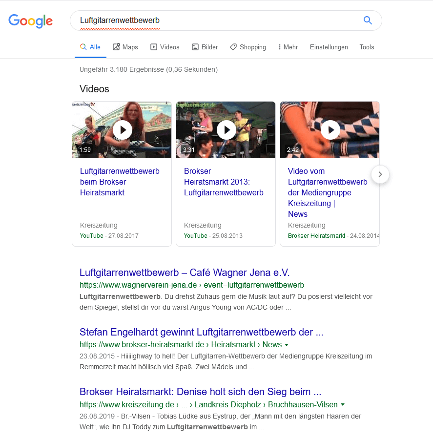 Universal Search Google Definition Beispiel