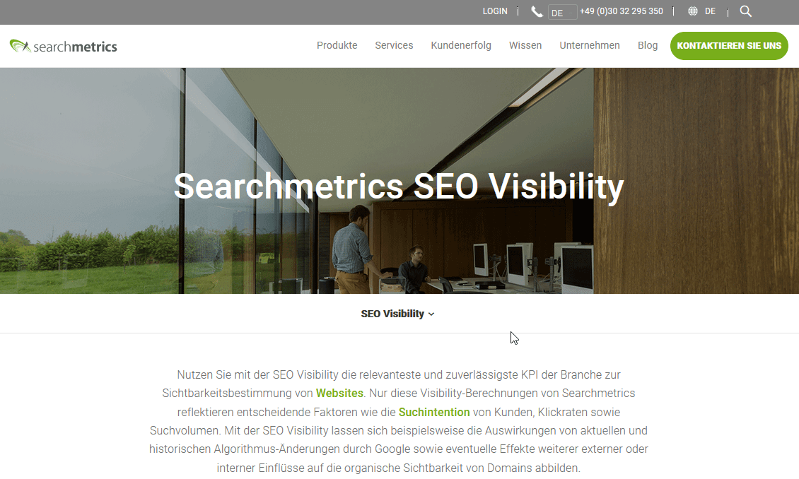 Screenshot Searchmetrics SEO Visibility