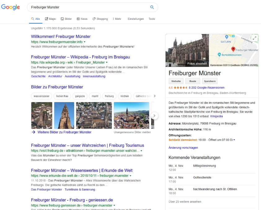 Freiburger Münster - Google Universal Search